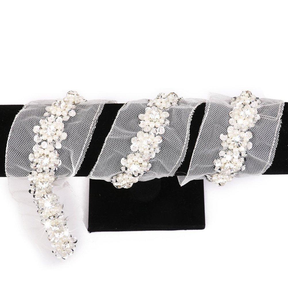 ROSENICE Cinta de encaje ajuste de costura artesanal lentejuelas perlas bolas decoradas blanco