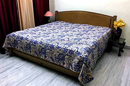 DK Homewares Indian Kantha Bedspread Quilt Multicolor Queen Size Bed Cover  Hand Stitched Cotton Floral Print