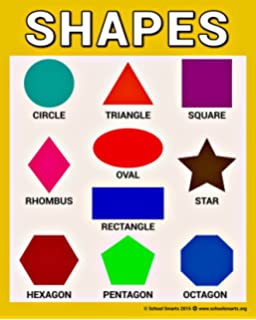 SHAPES Chart By School Smarts ○ Fully Laminated, Durable Material Rolled  And SEALED In Plastic