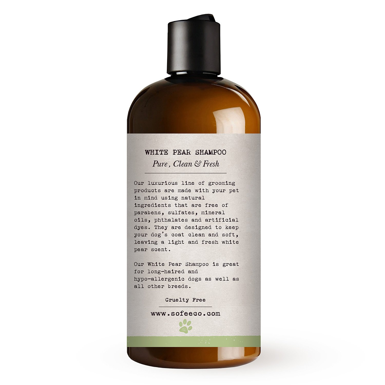 Sofee & Co. Natural Dog/Puppy Shampoo, White Pear - Clean, Moisturize, Deodorize, Detangle, Calm, Soothe, Soften, Normal, Dry, Itchy, Allergy, Sensitive Skin. Prevent Mattes. 16 oz by Sofee & Co. (Image #2)