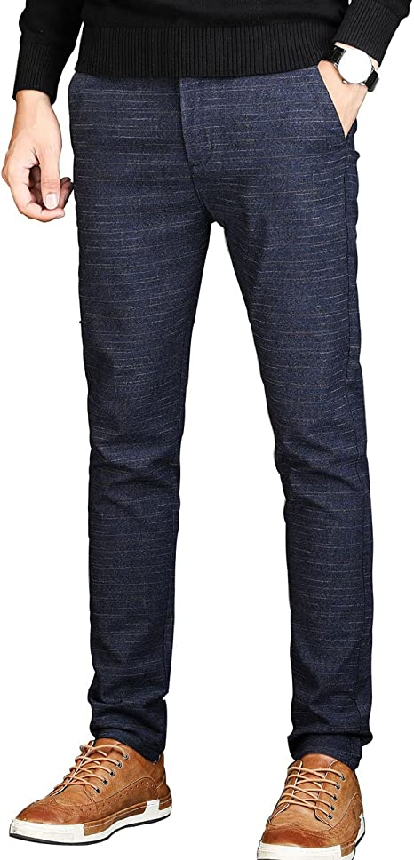 Amazon.com: Pantalones de vestir para hombre, ajustados, sin ...