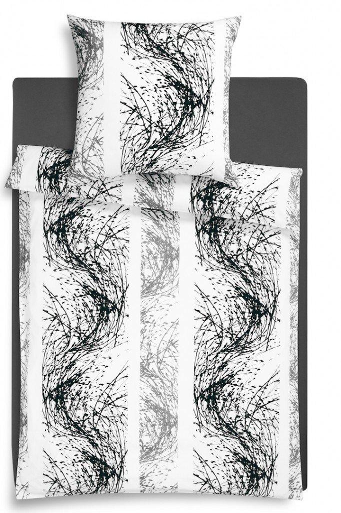 Estella Strike Mako-Satin Bettwäsche, Fb 900 - Schwarz, Größe 135x200 + 1 x 80x80