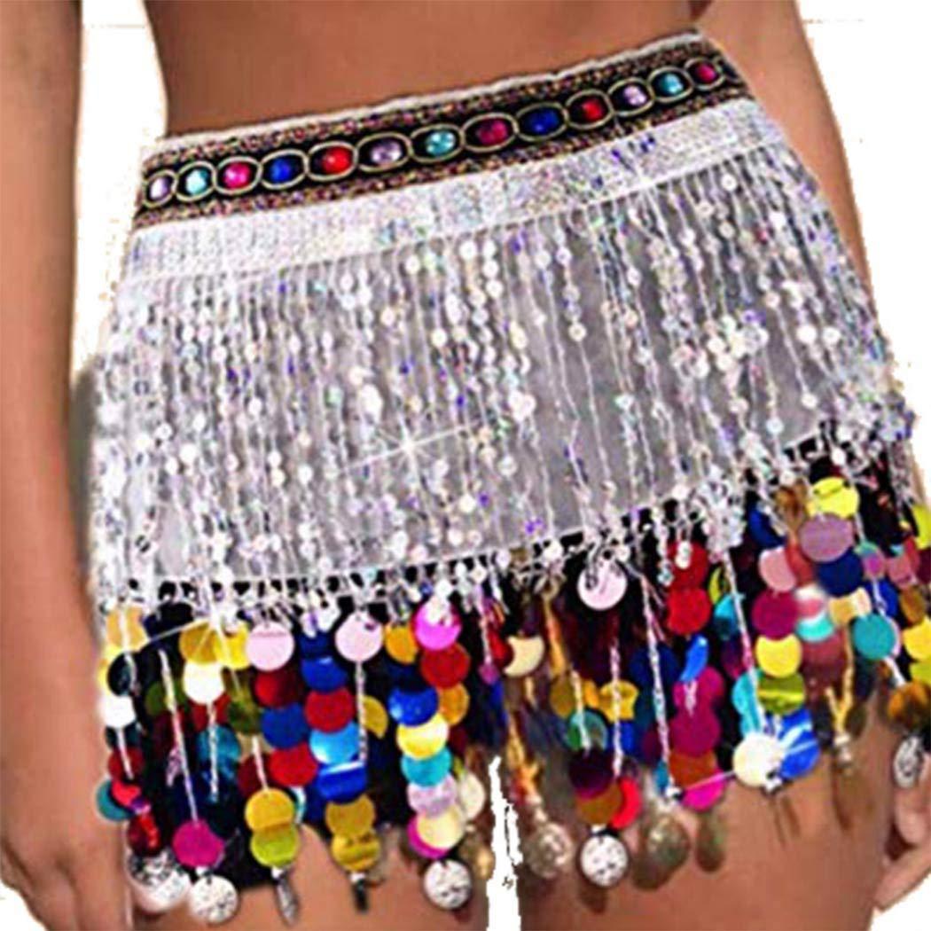 Black Gortin Sequin Hip Skirts Fringe Tassel Wrap Skirt Hip Scarf Belly Dancer Costume Halloween Rave Skirt Festival Club Body Jewelry for Women
