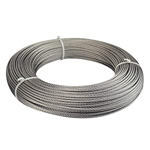 """Muzata 1/8"""" Stainless Steel Cable for Railing Kit,Wire Rope Aircraft Cable 500Feet for Decking Deck Stair DIY Balustrade, Dog Run Clothes Lines Outdoors,7x7 Strand WR01"""