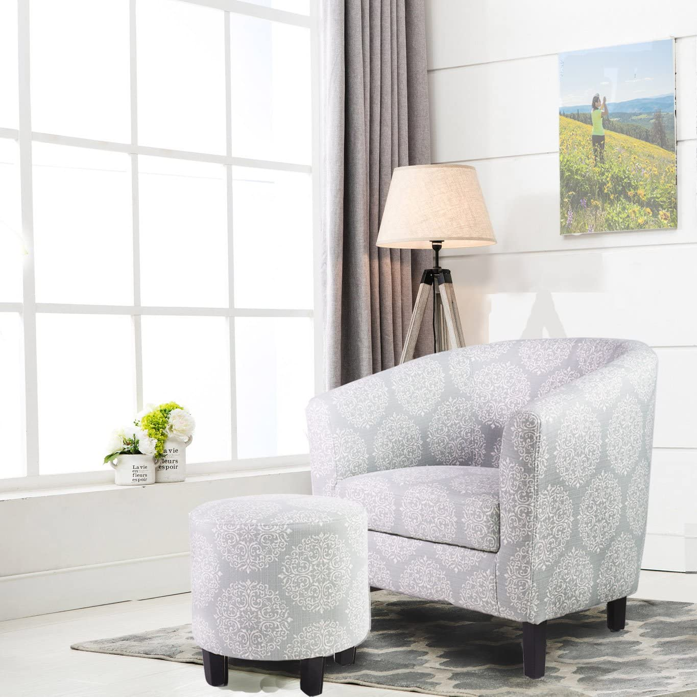 Ocean Bridge Furniture 7AM Collection Aiyana Barrel Chair and Ottoman Set, Teal