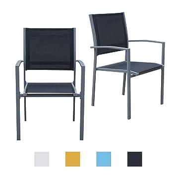 Jalano Gartenstühle Mit Armlehne Doppelpack Grauer Rahmen Gartenstuhl In  Verschiedenen Farben Wetterfest Stapelstuhl 2er Set Terrasse