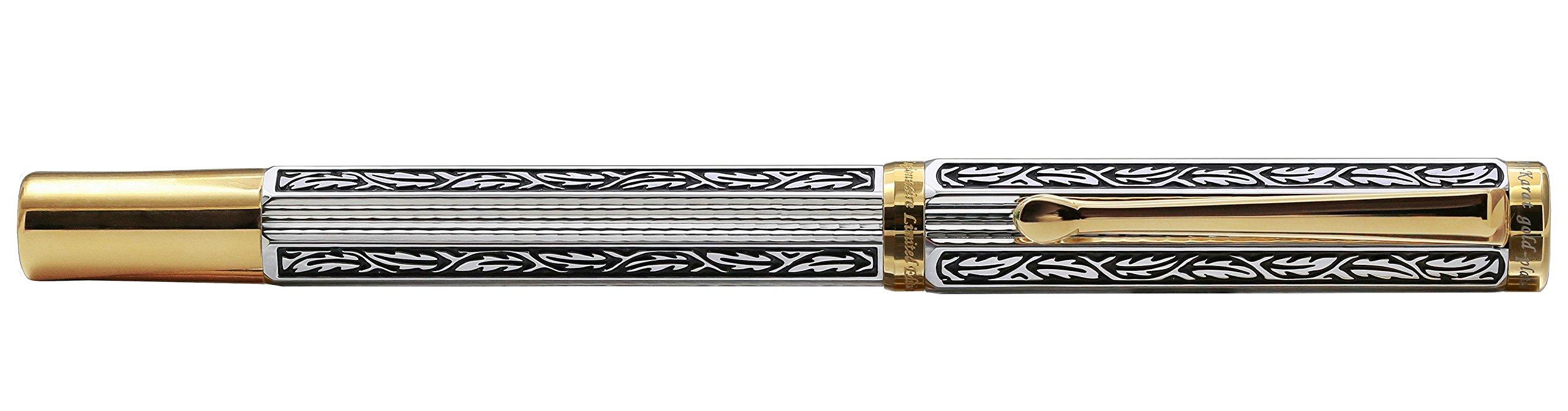Xezo Legionnaire 18-Karat Gold, Platinum Plated MEDIUM-Point Fountain Pen, Art Nouveau Style, Diamond-Cut and Finely Hand-Etched (Legionnaire F-1) by Xezo (Image #2)