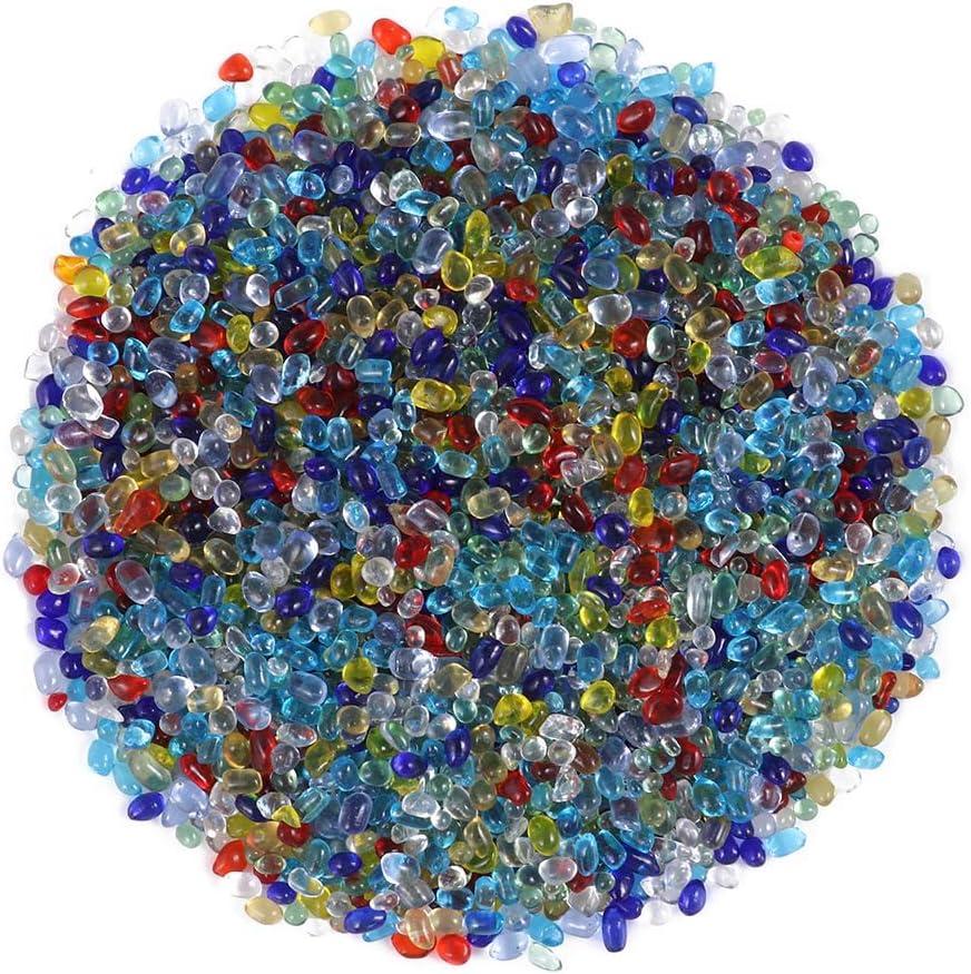 Healifty Gemas de Vidrio Cuentas Vidrio Decorativo Arena Roca Coloful Piedras de Cristal para acuarios terrarios jarrones de Vidrio jarrones de Vidrio 0.44 LB / 200g