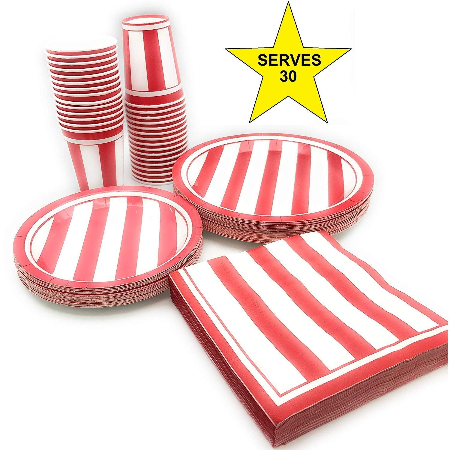 Serves 30 | Complete Party Pack | Red & White Stripes | 9'' Dinner Paper Plates | 7'' Dessert Paper Plates | 9 oz Cups | 3 Ply Napkins | Carnival Party Theme