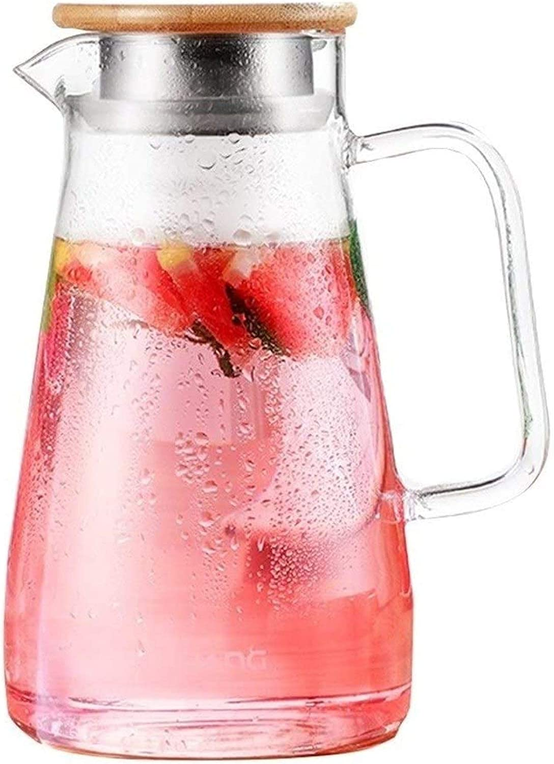Glass pitcher Explosion-Proof Cooler Heat-Resistant Heat-Resistant Household teapot Capacity 1500ml,Clear-11.521cm