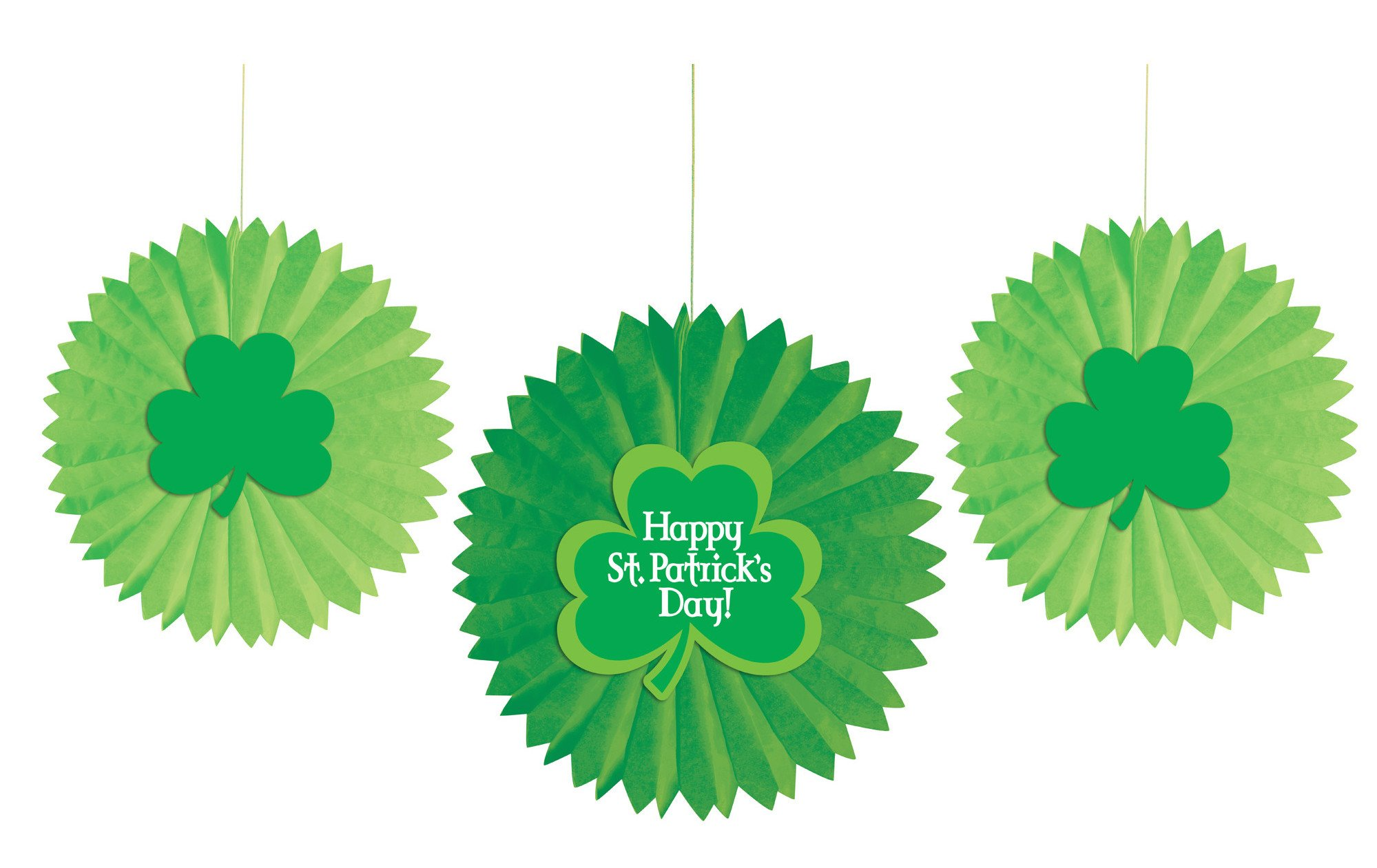 Creative Converting 36 Count Shamrocks Tissue Fans, Green by Creative Converting (Image #1)