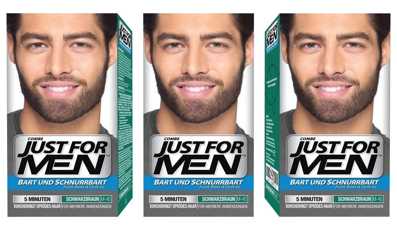 Just for Men Brush in Color Gelformel Bart Und Schnurrbart, schwarzbraun, 3er Pack (3 x 28.4 g) GER-MBS-3-DarkBrown