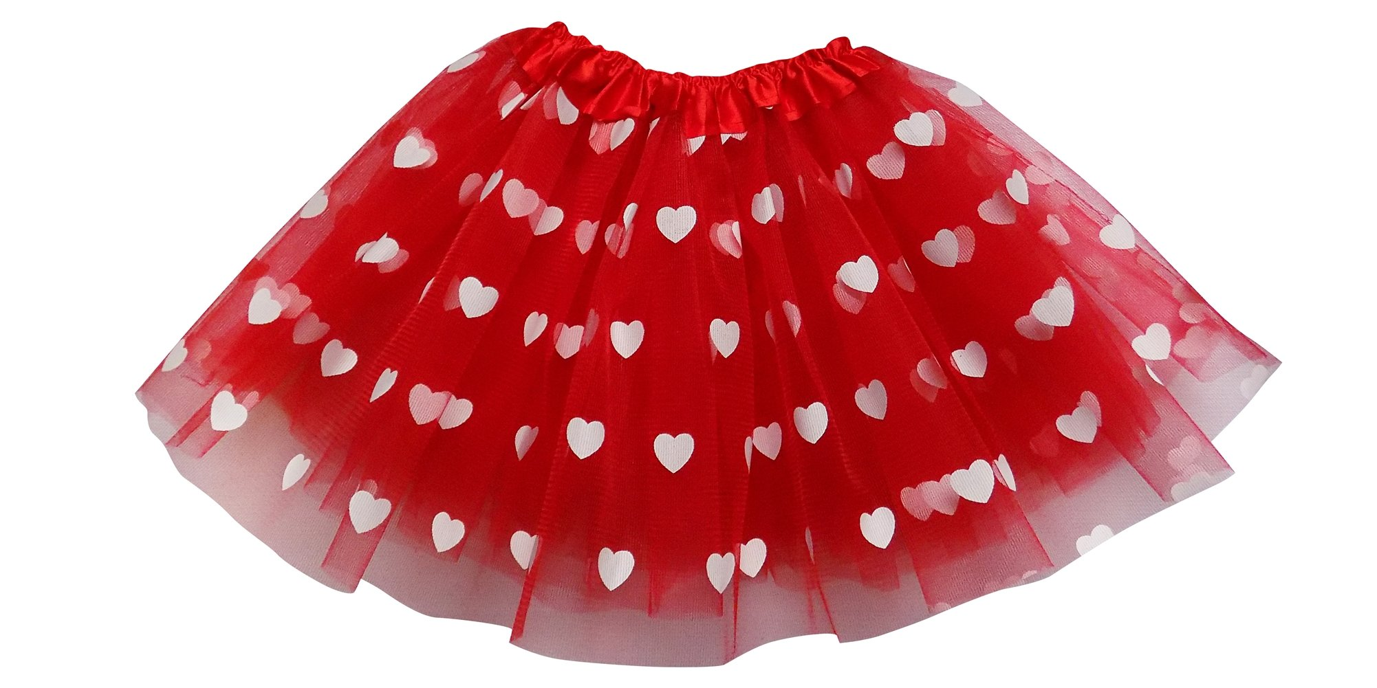 So Sydney Adult, Plus, or Kids Size Valentine's Day Printed Heart Tutu Costume Love Skirt (L (Adult Size), Red)