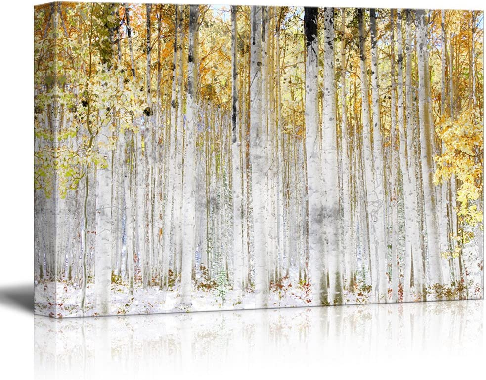"""wall26 - Abstract Trees with Yellow Leaves - Canvas Art Wall Art - 24""""x36"""""""