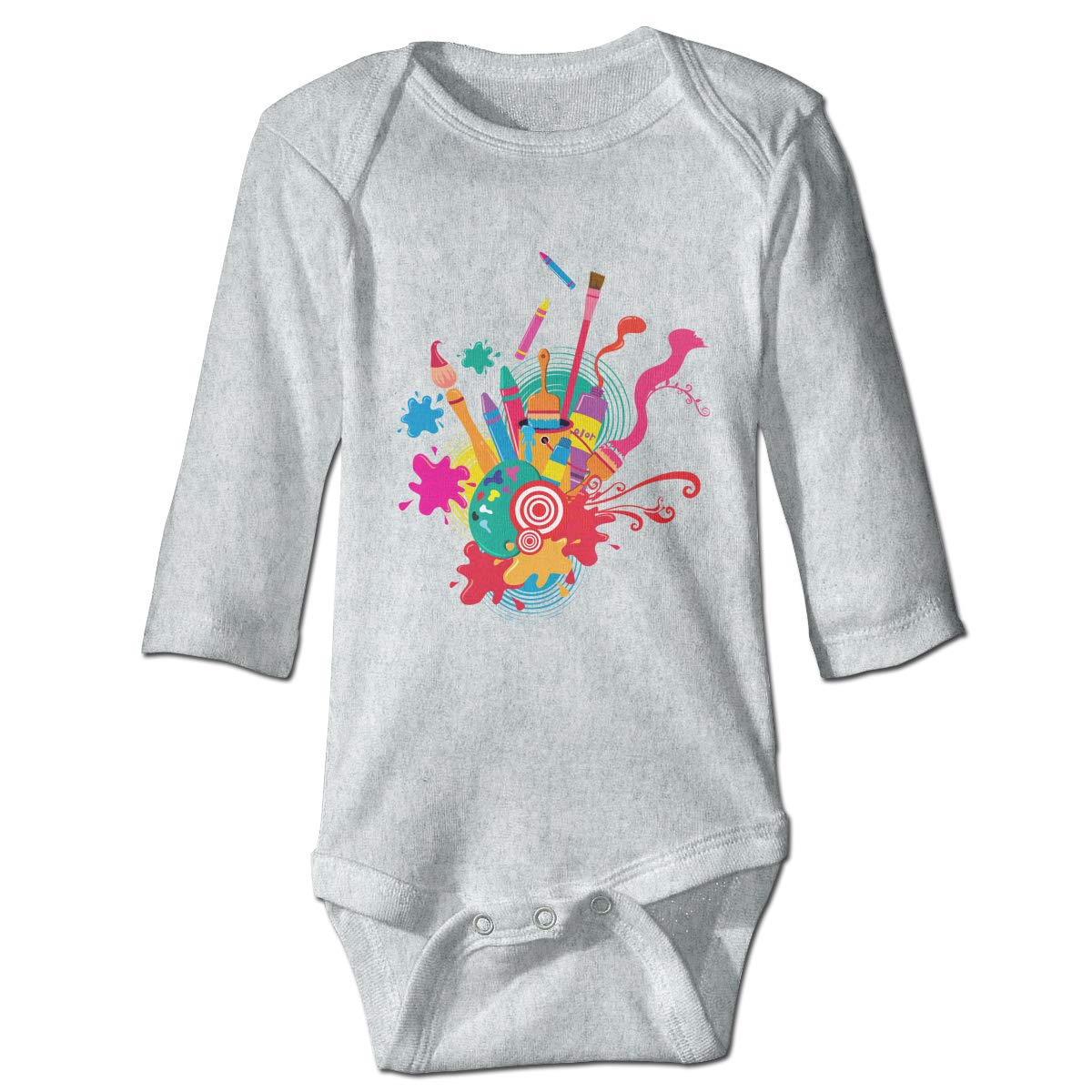 Dfenere Paints and Watercolor Pens Hip Hop Newborn Baby Long Sleeve Bodysuit Romper Infant Summer Clothing
