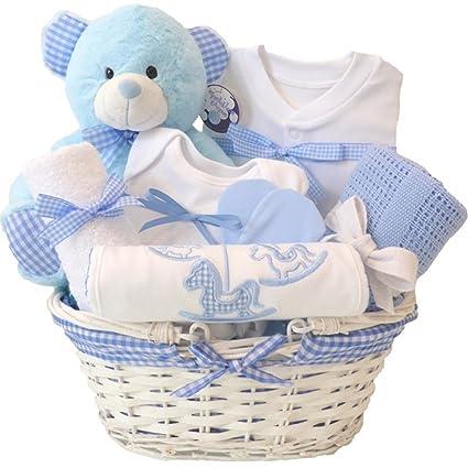 Cesta de regalo para bebé o recién nacido, color azul, para regalo ...