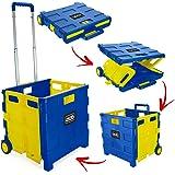 Foldable Plastic Shopping Trolley - Lightweight Teacher's Book Cart - Wheeled Folding Storage Box with Aluminium Handle - Black & Yellow - 35KG