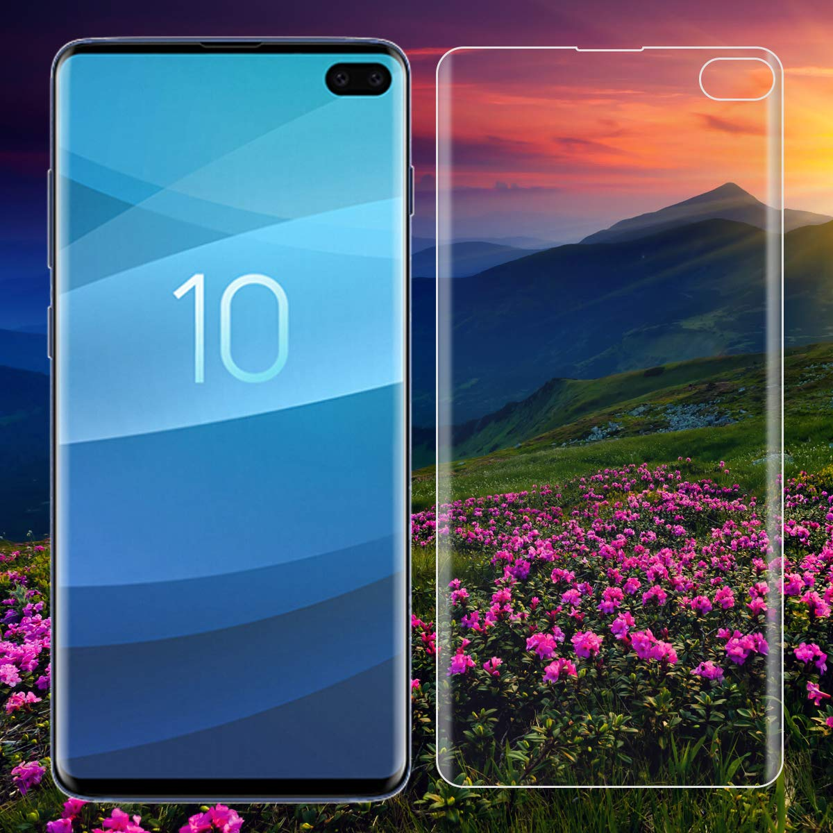 Scratch Resistant Anti-Scratch -2 Pack Case Friendly Samsung Galaxy S10 Plus Screen Film Full Coverage Tempered Glass Screen Protector Film Edge to Edge Protection