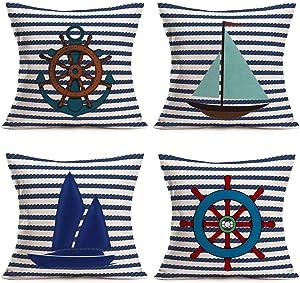Tlovudori Rustic Nautical Pillow Covers Navy Blue Ocean Stripe Sea Sailing Boat Rudder Anchor Sailboat Throw Pillowcase Outdoor Home Cotton Linen Decor Cushion Cover 18
