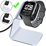 CAVN Compatible Fitbit Versa/Versa Lite Edition Charger Dock Stand Cable, Premium Aluminum Charging Cable Cord Station Cradle Base Attached 4.2ft USB Cable Accessories, Silver