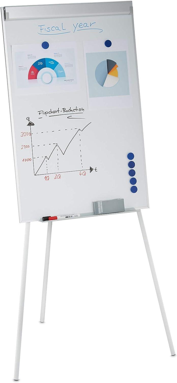 Relaxdays Flipchart Whiteboard Magnetisch Höhenverstellbar Dreibein Stifte Ablage Alu Rahmen Hxb 90 X 60 Cm Weiß 1 Stück Küche Haushalt