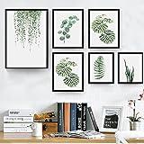 Pintura minimalista moderna con estilo nórdico y diseño de planta de hoja verde, lona, 1#, 30cm x 40cm