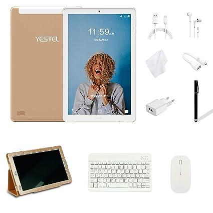 Tablets 10 Pulgadas YESTEL Android 8.0 Tablet con 3GB RAM & 32GB ROM y 4G LTE Dual SIM 5.0 MP + 8.0 MP HD la Cámara y 8000mAH -Dorado