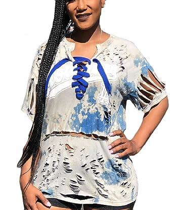 3c8cd812cd RRINSINS Women s Short Sleeve Lace up Front Distressed T Shirt Fashion Tops  Light Grey XXS