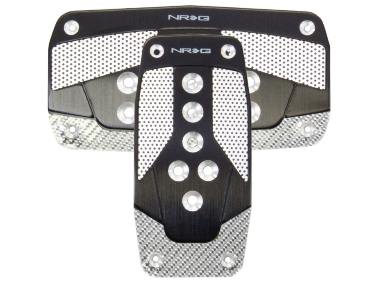 NRG Innovations PDL-450BL Blue Aluminum Sport Pedal with Silver Carbon AT