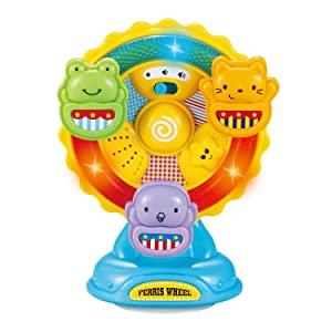infunbebe Animal Ferris Wheel Spinning Wheel Toy with Music and Light for Toddlers Infants from 6 Months and up