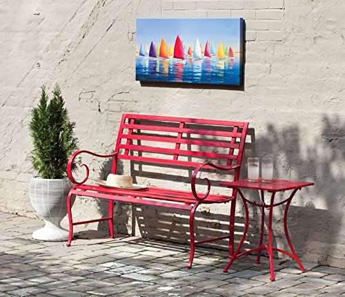 Cape Craftsmen Outdoor Safe Red Metal Garden Patio Bench