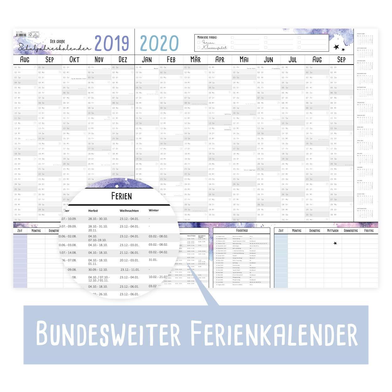 bel design XXL gr con 2 orarie calendario anno scolastico 19//20 moderno vacanze scolastiche e giorni festivi Come DIN A1 Calendario dellanno scolastico 2019//2020 parete.