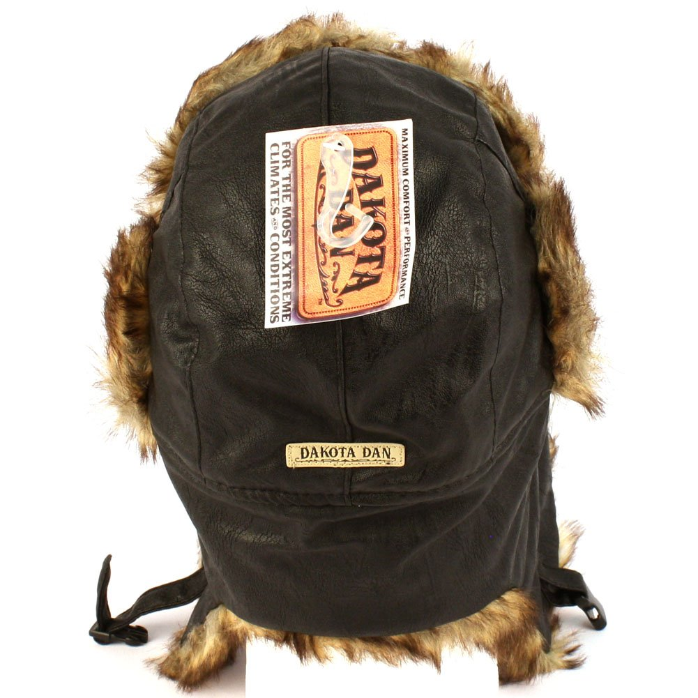 d0621843808 Amazon.com  Dakota Dan Trooper Faux Leather Ear Flap Cap w Faux Fur Lining  Hat (Black Brown)  Sports   Outdoors