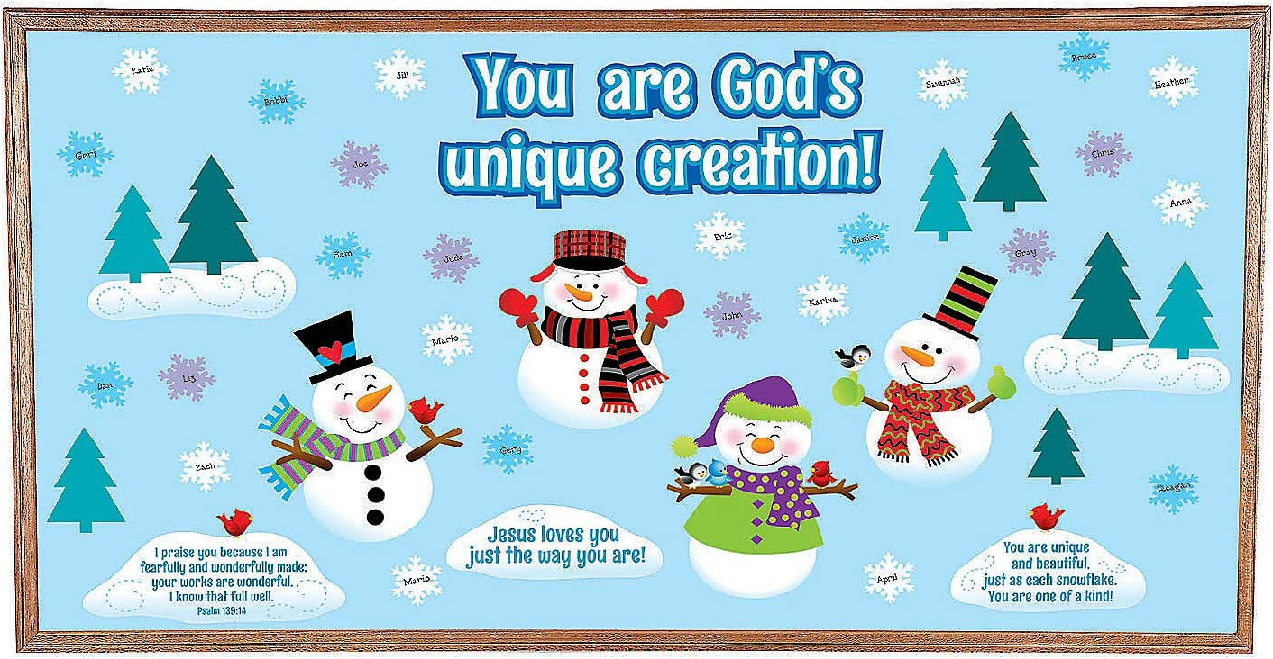65 Piece Set Fun Express God Made Me Unique Snowman Bulletin Board Set
