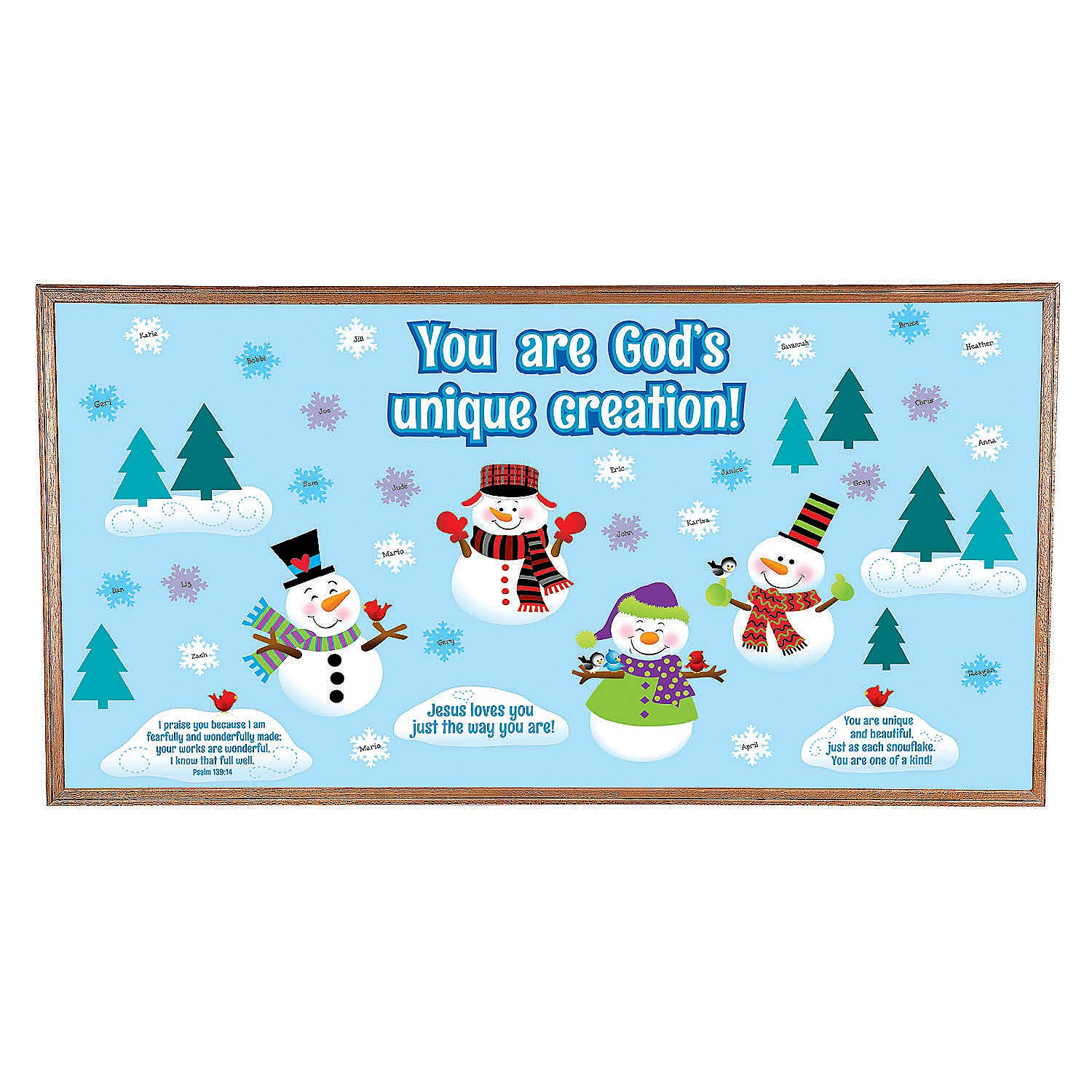 Fun Express - God Made Me Unique Snowman Bulletin Board Set - Spiritually Uplift and Motivate - Perfect for Church