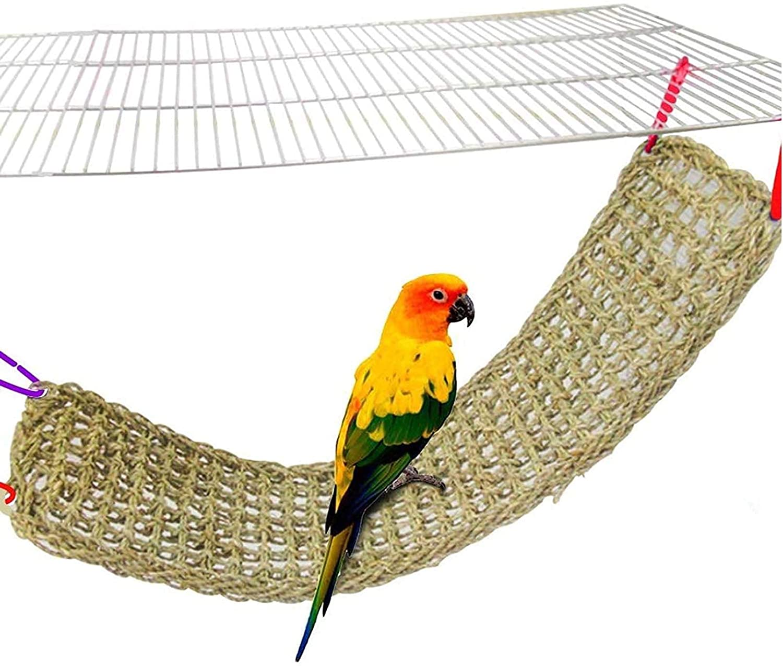 "Bird Seagrass Mat, Natural Grass Woven Net Hammock Hanging on Parrot Cage with 4 Hooks, Parakeet Climbing Rope Ladder Chew Toys for Lovebird Cockatiel Conure Budgie, Cockatoo Supplies 28.3"" x 6.7"" : Pet Supplies"