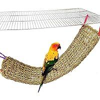 BLSMU Bird Seagrass Mat,Natural Grass Woven Net Hammock Hanging on Parrot Cage with 4 Hooks,Parakeet Climbing Rope…