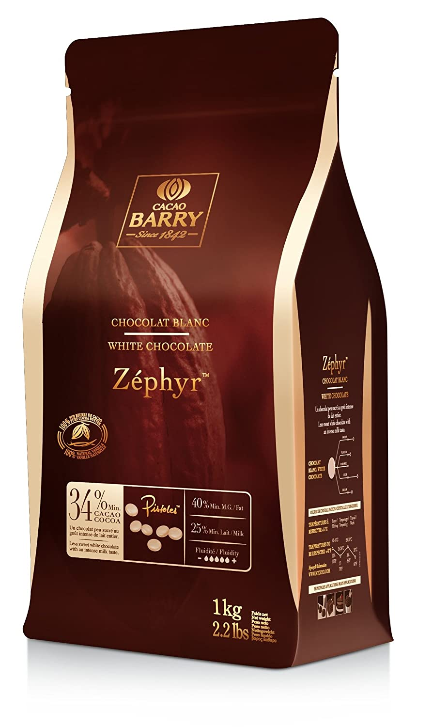 Cacao Barry kg 34% Zephyr Easimelt chips de chocolate blanco: Amazon.es: Alimentación y bebidas
