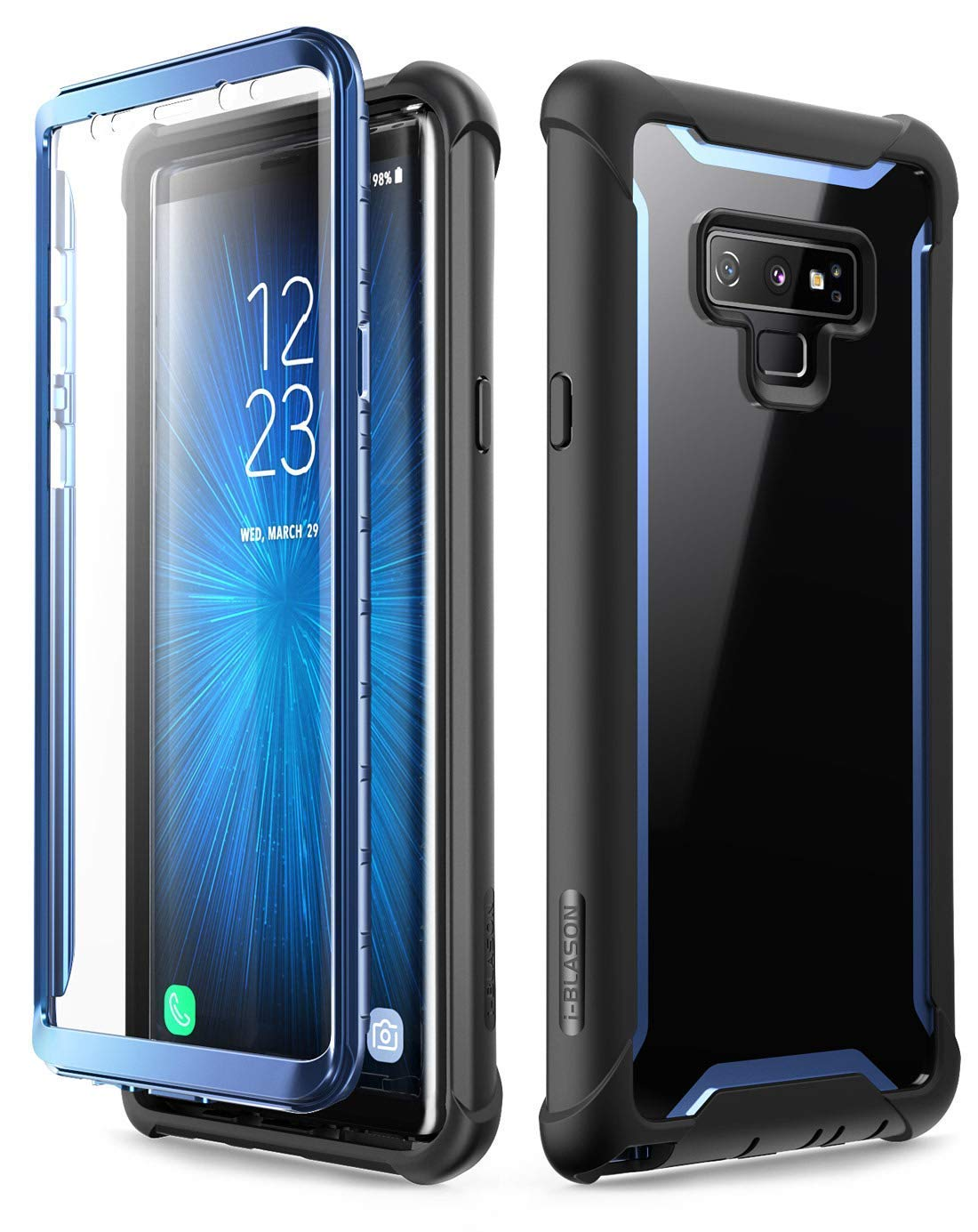 i-Blason Ares Designed for Galaxy Note 9 Case, Full-Body Rugged Clear Bumper Case with Built-in Screen Protector for Galaxy Note 9 2018 Release, Black/Blue