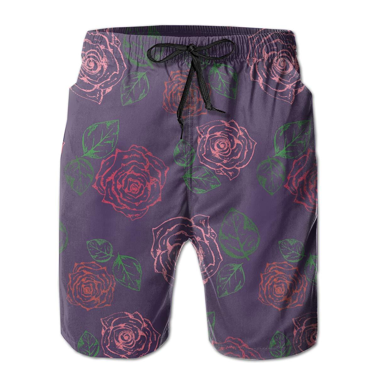 SARA NELL Mens Swim Trunks Dark-Purple-Pattern-with-Scratched-Pink-Roses Surfing Beach Board Shorts Swimwear