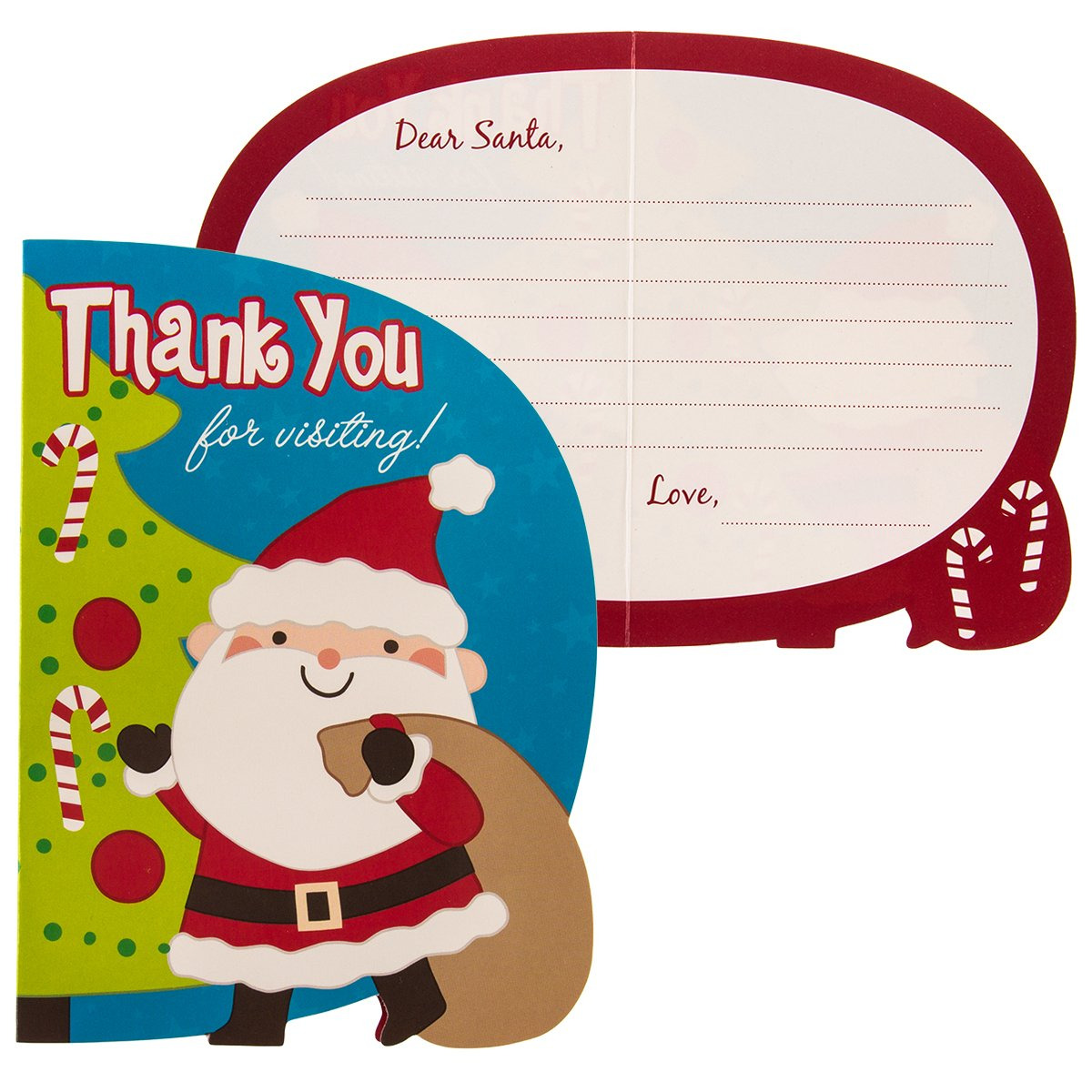 Stickers Paper Crafts 12 Pack Kids Letters to Santa Kits: Christmas Wish List Party Favor Bulk Set Thank You Cards /& Envelopes
