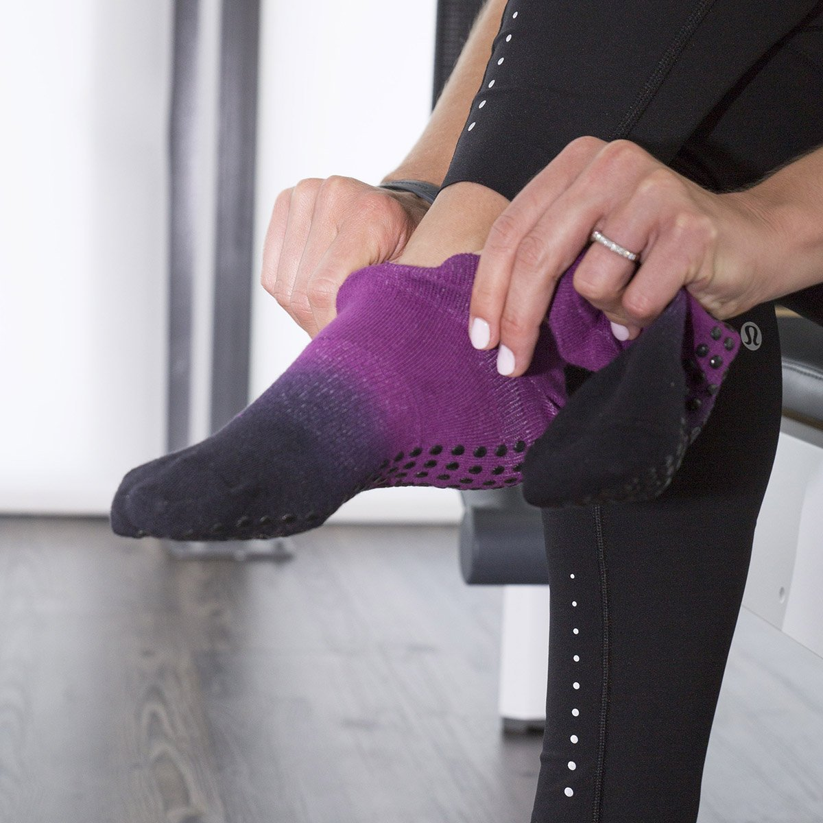 Great Soles Ombre Dyed Grip Socks for Women - Non Slip Yoga Socks for Pilates, Barre, Ballet (Berry/Black) by Great Soles (Image #6)