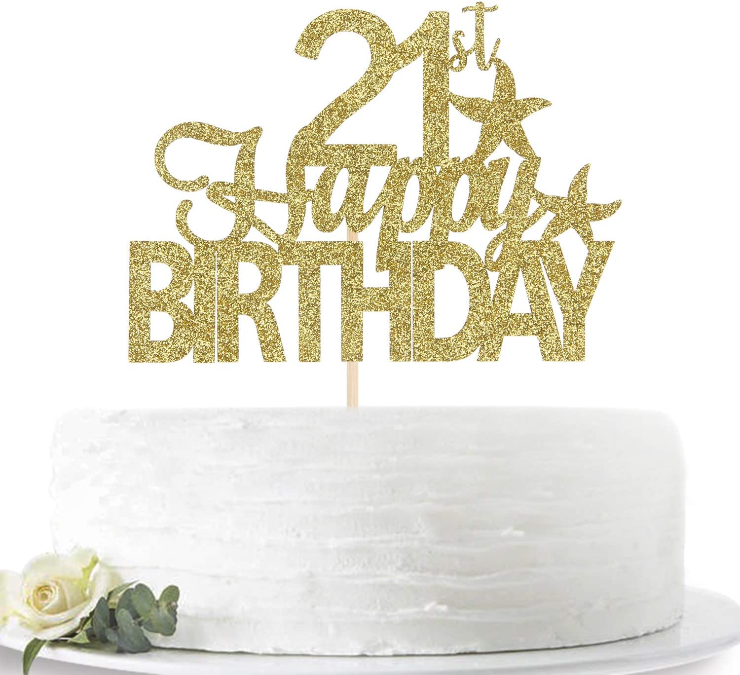 Glitter Gold Happy 21st Birthday Cake Topper Twenty-one Years Old Party Sign Decorations Hello 21