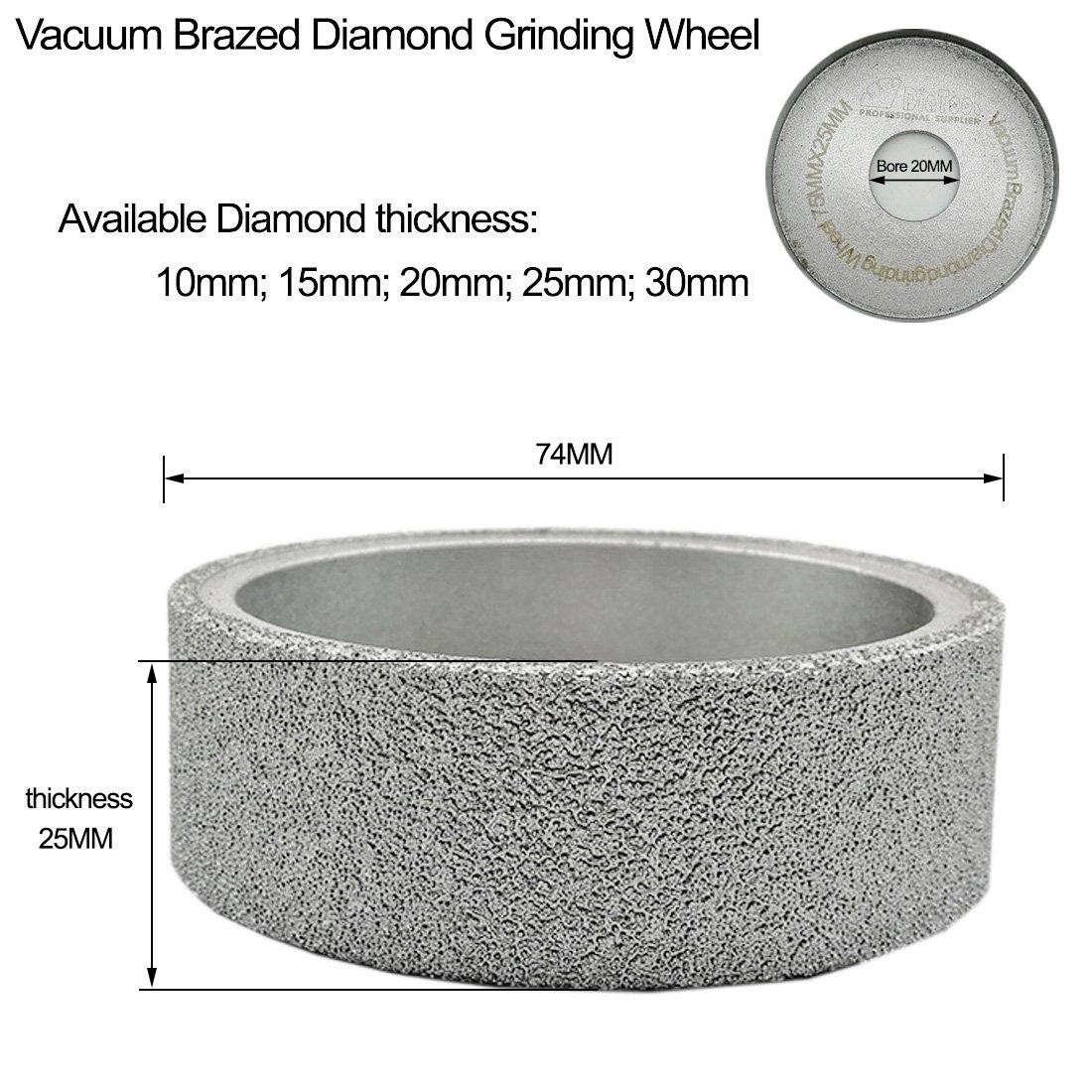 DIATOOL Diam/ètre 75mm Meule Diamant/ée Bras/ée Sous Vide Disque de Pon/çage Plat Meulage /à Sec ou Humide sur Marbre Granit C/éramique Quartz Verre en Pierre Roue de Diamant 25MM