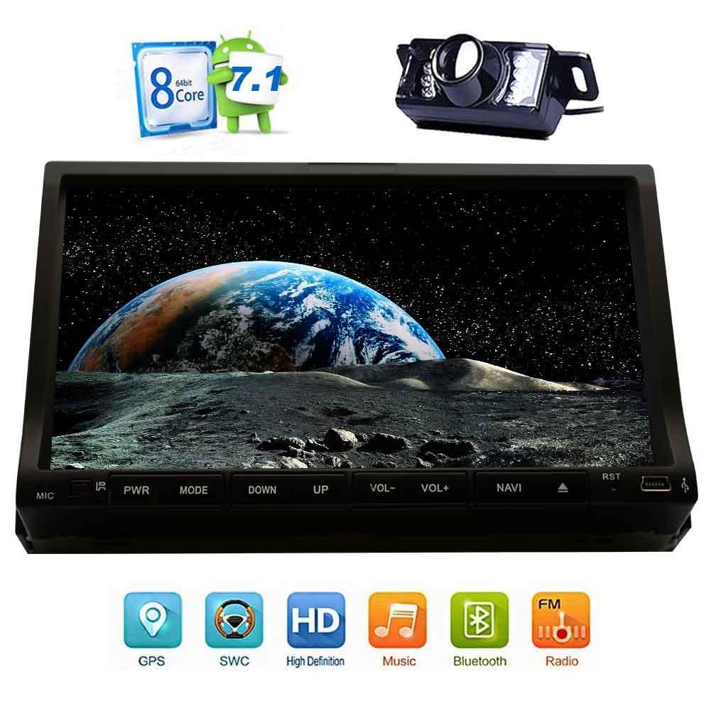 2ギガバイト32ギガバイトのAndroid 7.1オクタコアのカーステレオ - 2ディンのBluetoothラジオ - サポートGPSナビゲーション、サブウーファー、USBのSD、3G WIFI、AV出力、フロントリバースDVRカメラ、OBD2ミラーリンク - バックアップカメラ付き B0778CRHF8