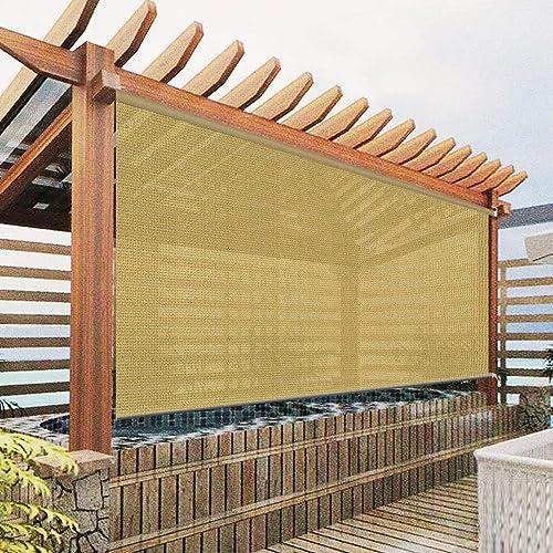 Exterior Roller Shades Cordless Blinds, Khaki Custom Outdoor Waterproof Window Blinds Light Filtering Shades for Porch, Gazebo, Patio, Back Yard, Deck, Balcony, Pergolas