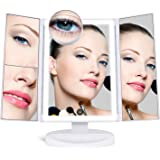 [Upgraded] SUPRENT Makeup Mirror with 36 LED Lights, 10x/3x/2x Magnification, 4 Tape-lights Vanity Mirror with Touch Screen, Battery and USB Powered, Portable High-Definition Cosmetic Mirror (White)