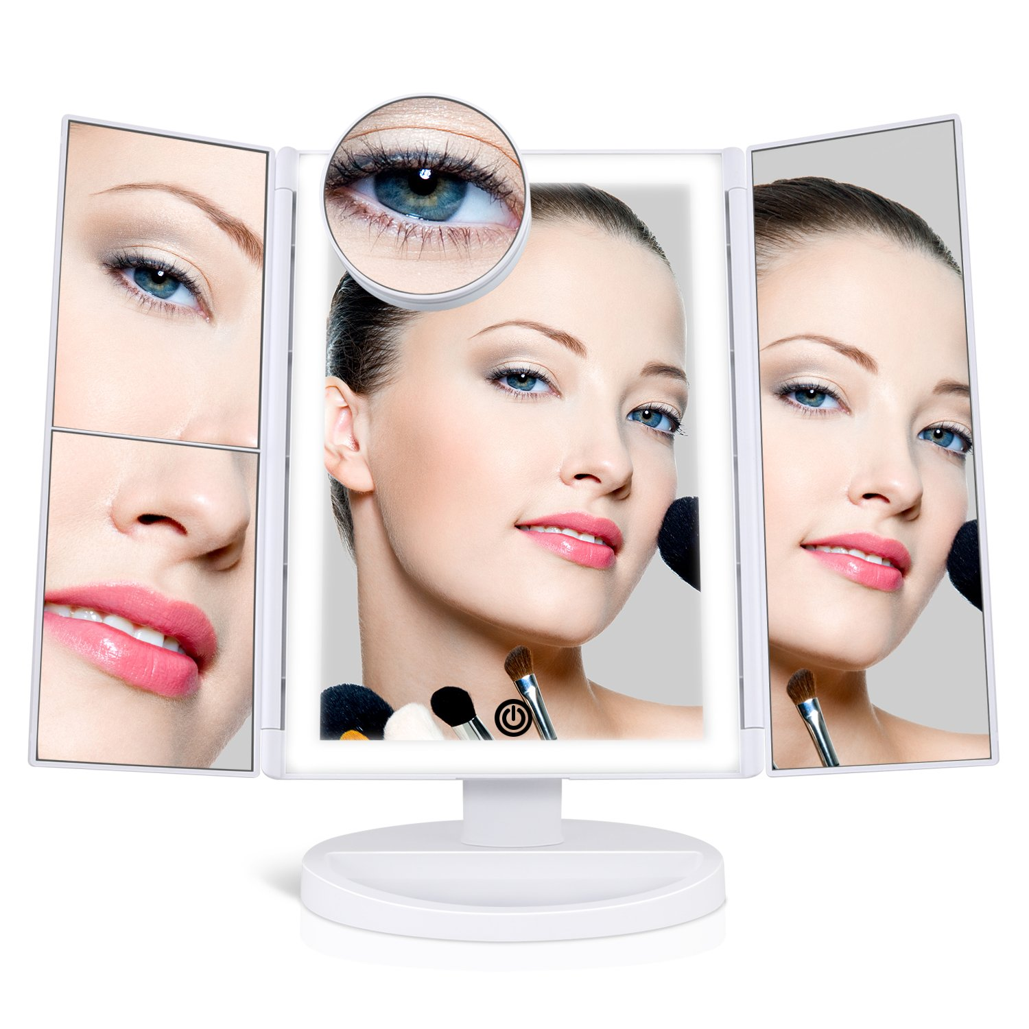 [Upgraded] SUPRENT Makeup Mirror with 36 LED Lights, 10x/3x/2x Magnification, 4 Tape-lights Vanity Mirror with Touch Button, AAA and USB Powered, Portable High-Definition Cosmetic Mirror (White)