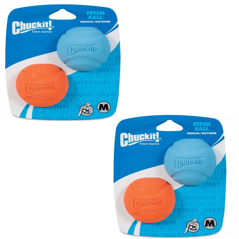 Chuckit! Dog Fetch Toy Fetch Ball Durable Rubber Fits Launcher Medium 4 Balls by Chuckit!