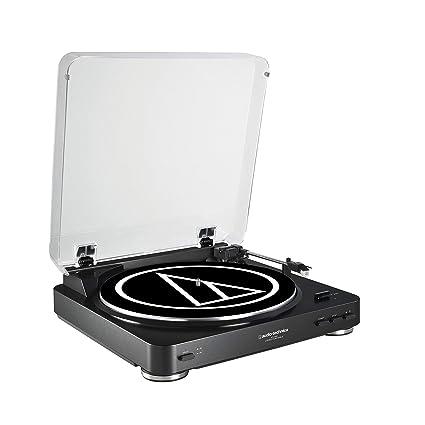 Audio-Technica AT-LP60 - Tocadiscos (Tocadiscos de tracción por Correa, Negro, Aluminio, 33 1/3,45, 0,25%, Corriente alterna)